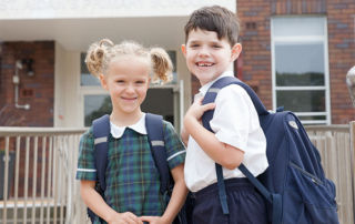 St Aidan Maroubra Junction - students with backpacks at school
